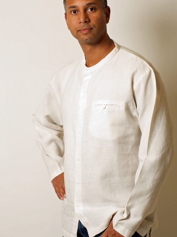 Long sleeve grandpa style shirt in Hemp
