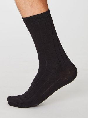 Plain black hemp socks