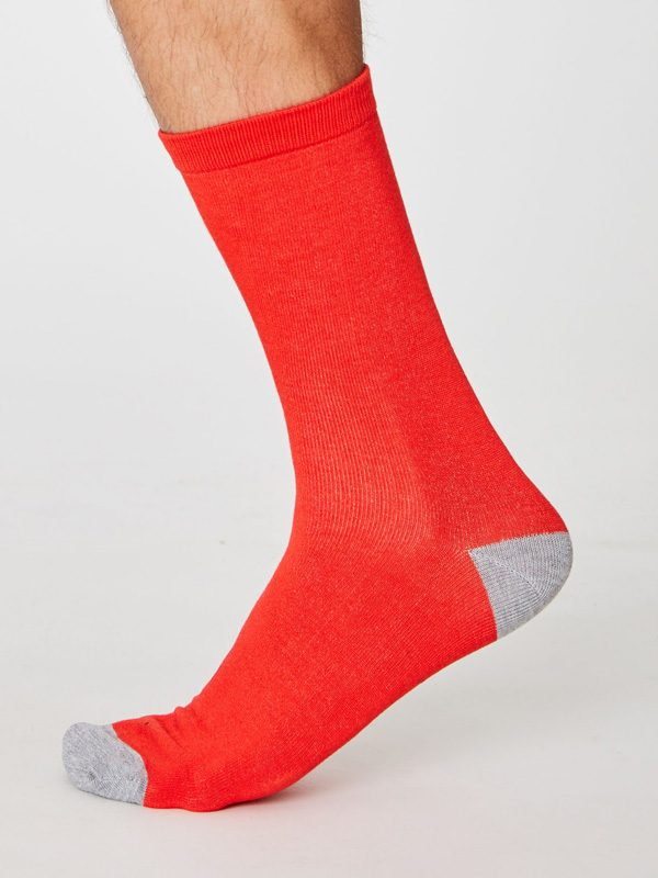 plain red bamboo socks