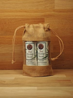 hemp hair set in a jute bag