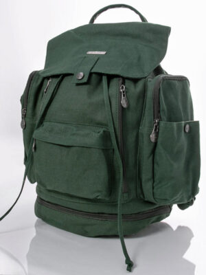 dark green rucksack with pockets